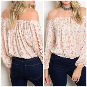 PEACH off shoulder top with hand detail- Top